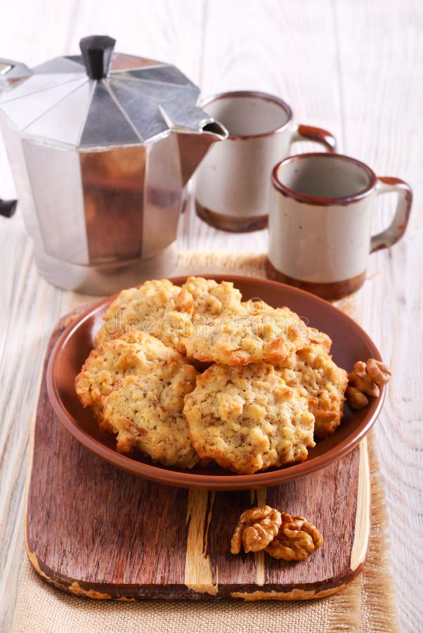Walnut and oat cookies stock photography