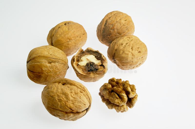 Walnut Whole and Crack and Shell   on white background kalyan royalty free stock photography
