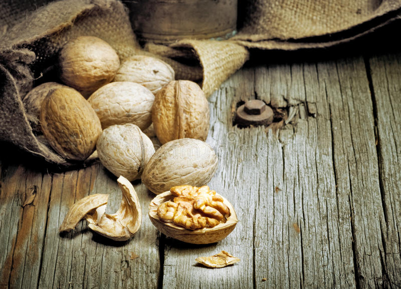 Walnuts. Beautiful image of Walnuts.Vintage styled royalty free stock photo