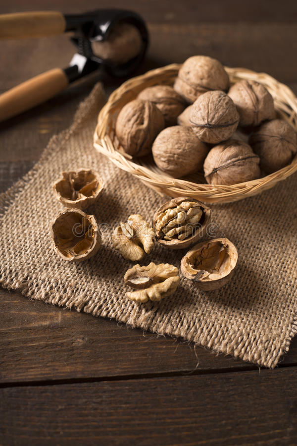 Walnuts in basket stock photos