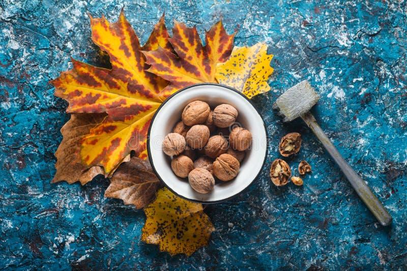 Walnuts in an enamel bowl, broken walnuts stock photo