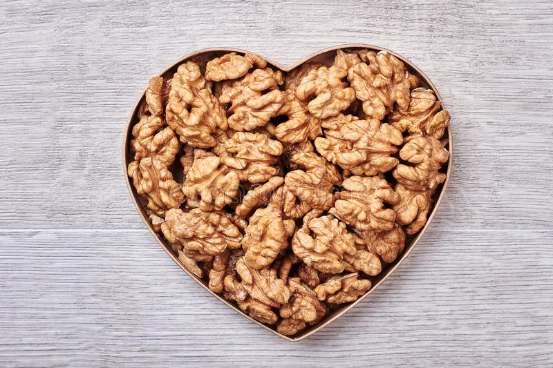 Walnuts in a heart-shaped box. royalty free stock image