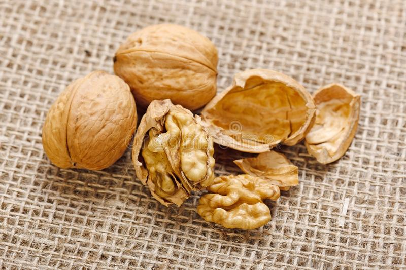 Walnuts On Homespun Linen Background Stock Images