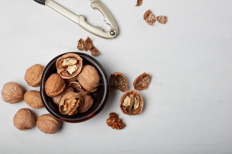 Walnuts isolated on white wood background royalty free stock photos