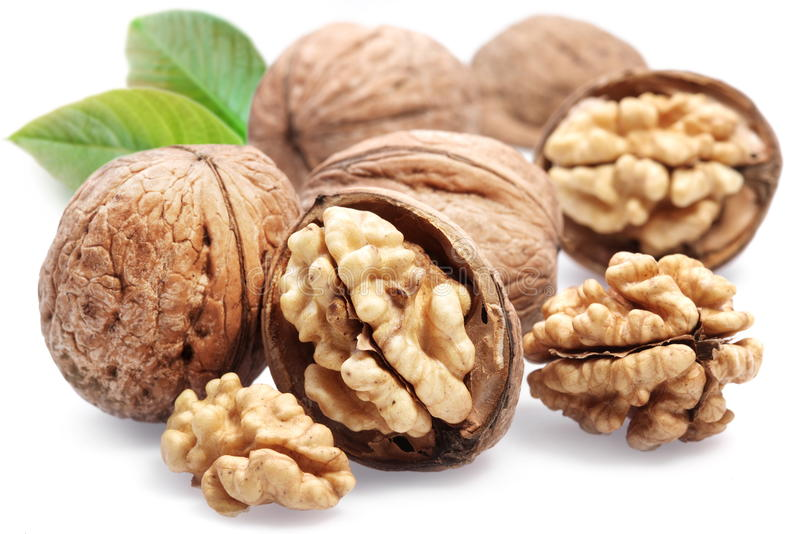 Download Walnuts with leaves. stock photo. Image of peeled, close - 16355774
