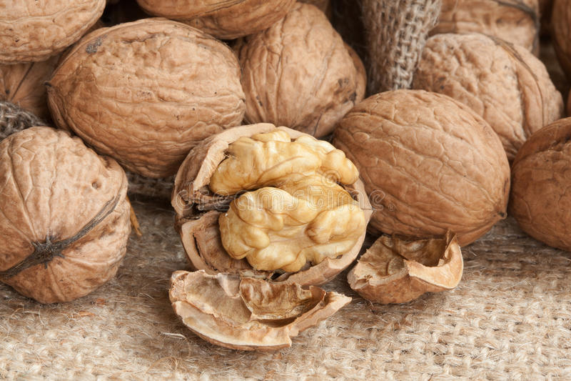 Download Walnuts On Linen Background, Stock Photo - Image: 21538400