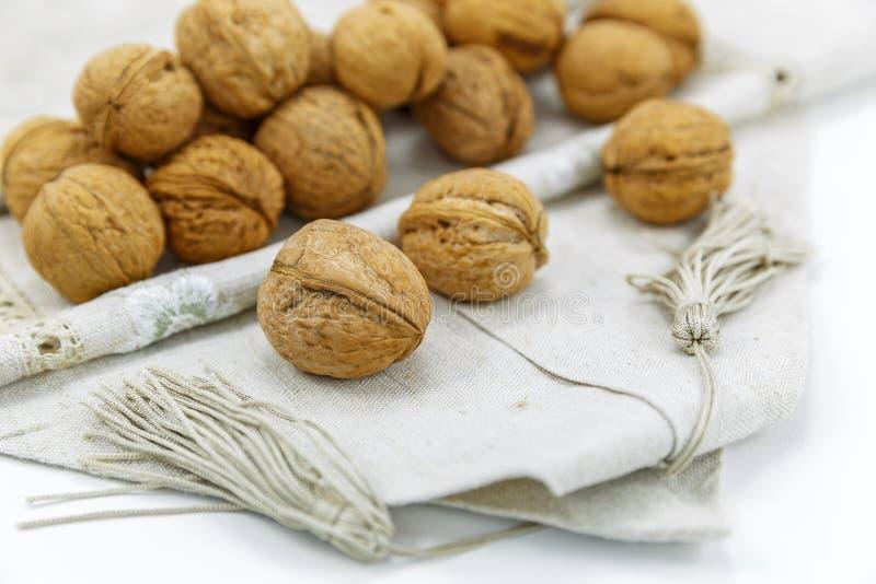 Walnuts on a napkin royalty free stock photo