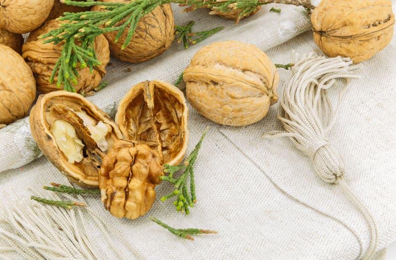 Walnuts on a napkin stock photo