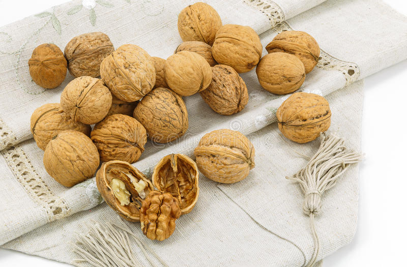 Walnuts on a napkin stock image