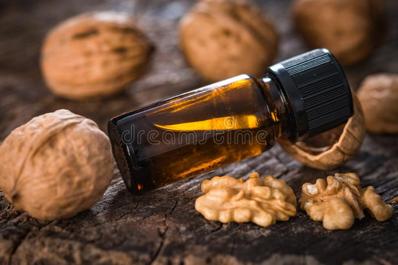 Walnuts oil stock images