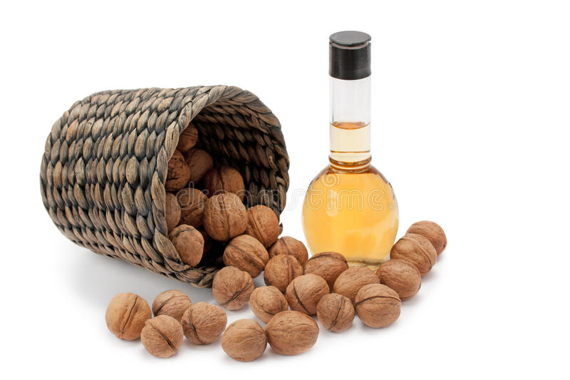Walnuts and oils stock photos