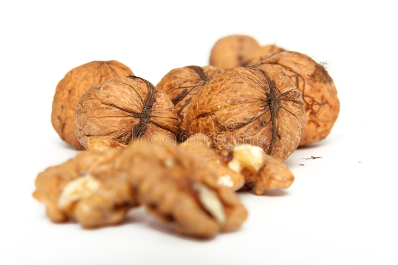Walnuts and shell stock image