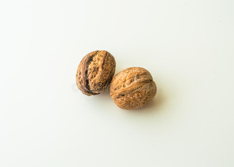 Walnuts in shell on a white background. Two walnuts in shell on a white background stock photos