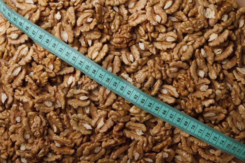 Walnuts and type measure stock image