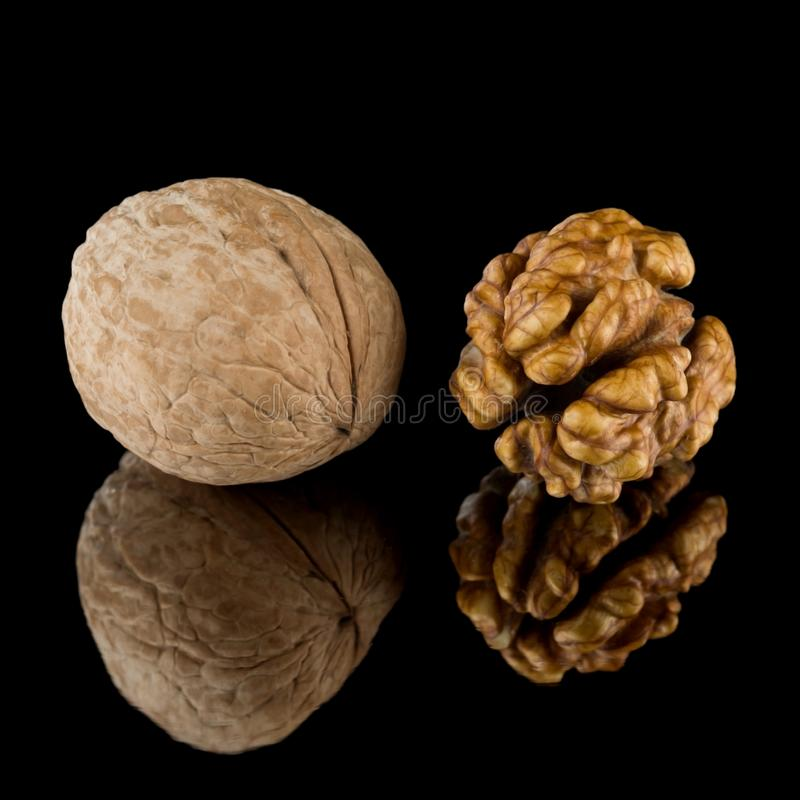 Walnuts, whole and peeled on a dark mirror background. stock photography