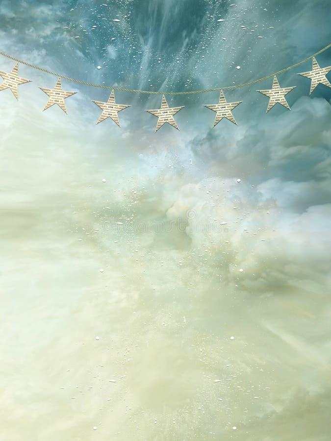 Walpaper. Whit stars iin a cloudy sky stock image