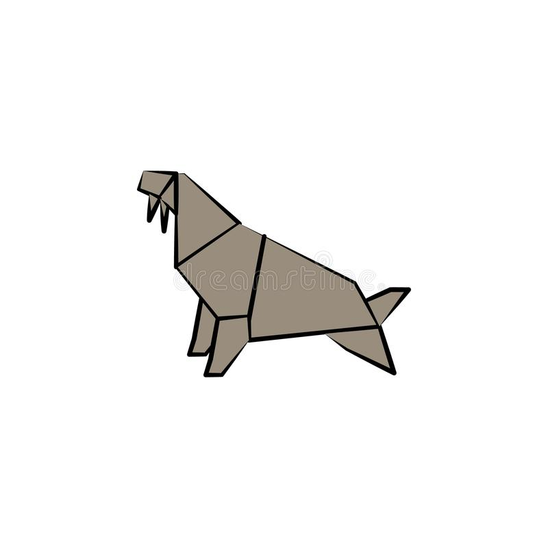 walrus colored origami style icon. Element of animals icon. Made of paper in origami technique vector Illustration walrus icon can royalty free illustration