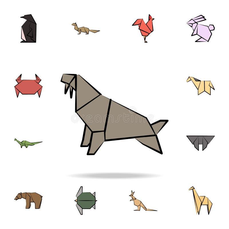 walrus gekleurd origamipictogram Gedetailleerde reeks pictogrammen van de origami dierlijke in hand getrokken stijl Premie grafis stock illustratie