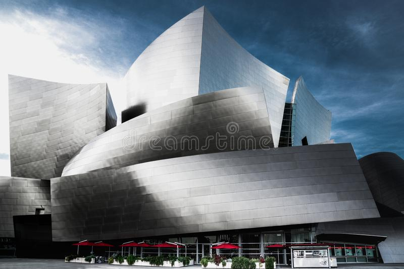 Walt Disney Concert Hall, downtown of Los Angeles, California. Walt Disney Concert Hall, designed by Frank Gehry and opened in 2003, is one of the four venues of stock images