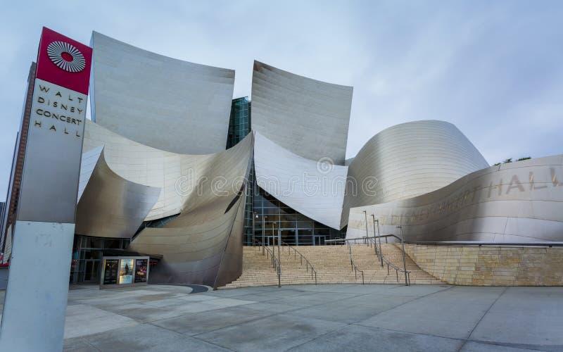 Walt Disney Concert Hall, het financiële district Van de binnenstad van de stad van Los Angeles, Californië, de Verenigde Staten  stock afbeeldingen
