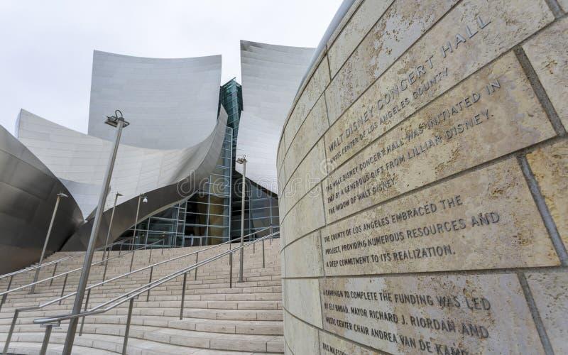 Walt Disney Concert Hall, het financiële district Van de binnenstad van de stad van Los Angeles, Californië, de Verenigde Staten  royalty-vrije stock afbeelding