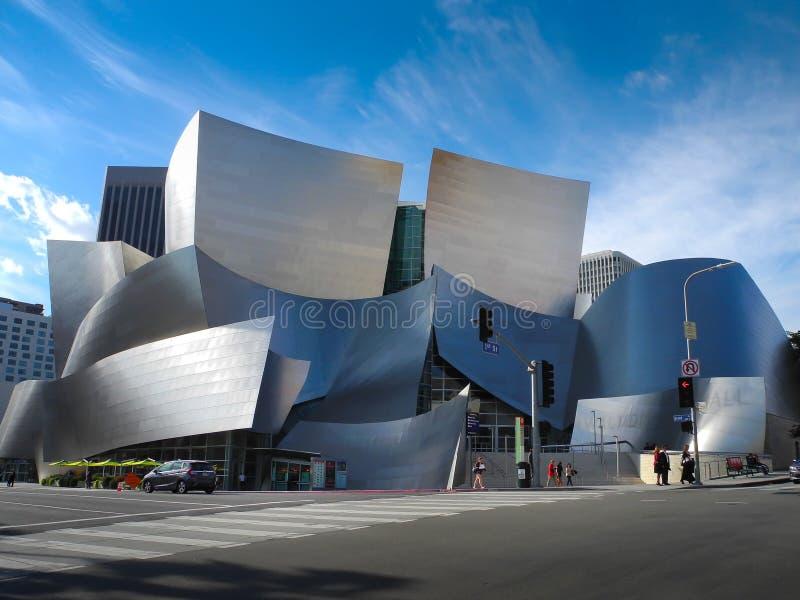 Walt Disney Concert Hall i Los Angeles, CA, USA royaltyfria foton