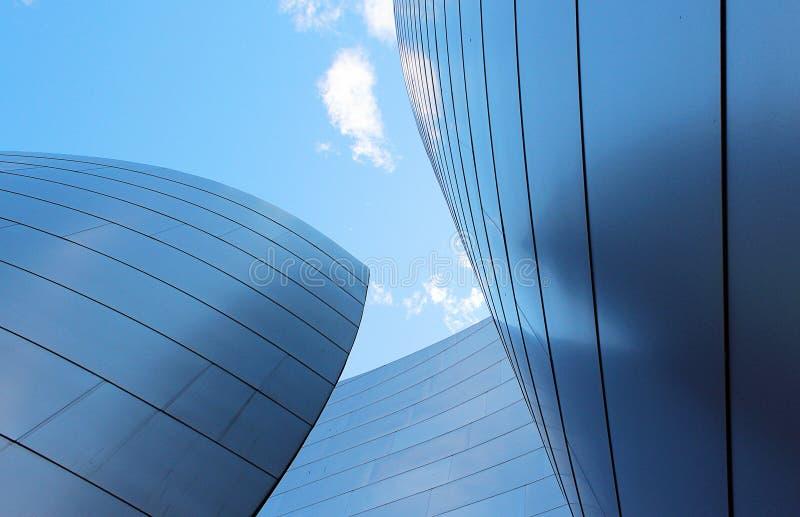 Walt Disney Concert Hall, Los Angeles. Walt Disney Concert Hall, blue sky, modern architecture, Los Angeles royalty free stock photography