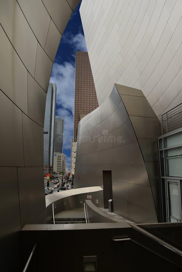 Walt Disney Concert Hall und Ansicht von Los Angeles, USA stockfotos