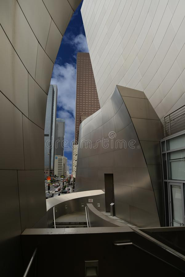 Walt Disney Concert Hall and view of Los Angeles, USA stock photos