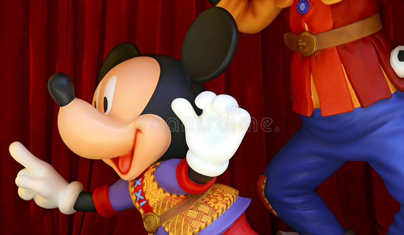 Walt disney mickey mouse. Walt disney famous cartoon character mickey mouse in a cheerful pose royalty free stock photos