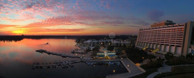 Walt Disney`s Contemporary Resort at Sunrise royalty free stock image