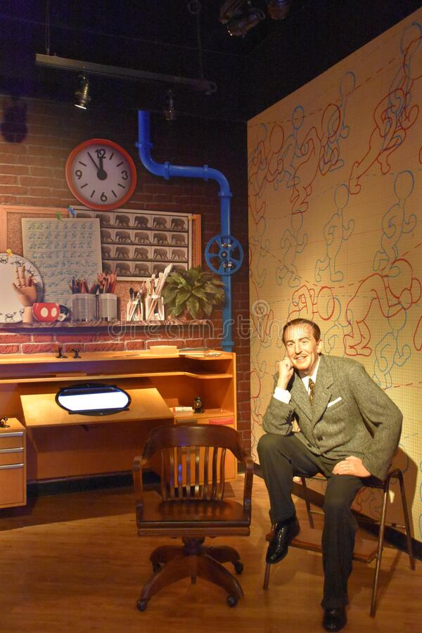 Walt Disney wax statue at Madame Tussauds Wax Museum at ICON Park in Orlando, Florida stock photo