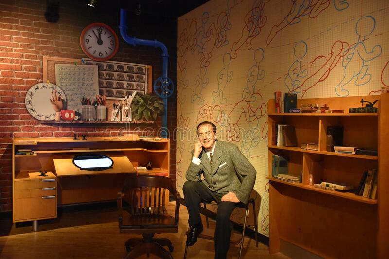 Walt Disney wax statue at Madame Tussauds Wax Museum at ICON Park in Orlando, Florida royalty free stock images