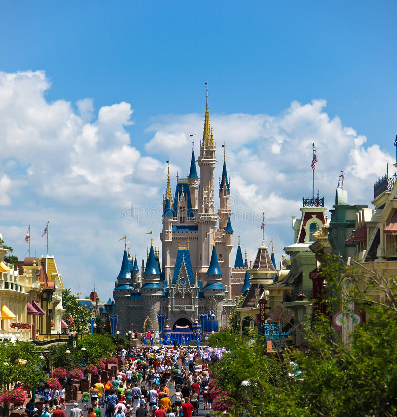 Walt Disney World. Walt Disney and Mickey Mouse in front of Cinderalla's Castle at Disney World in Orlando Florida stock image