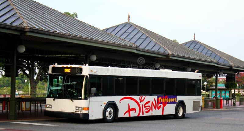 Walt Disney World transportation system bus station. Hop on a bus at the Walt Disney World transportation system bus station royalty free stock image