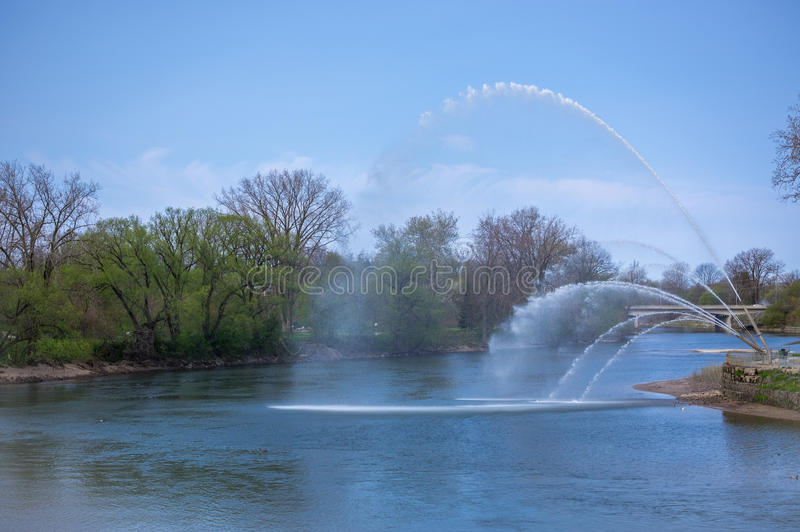 Walter J. Blackburn Memorial Fountain. London Ontario Canada, this fountain commemorates Walter J. Blackburn. View from Ivey Park at the forks of the Thames royalty free stock image