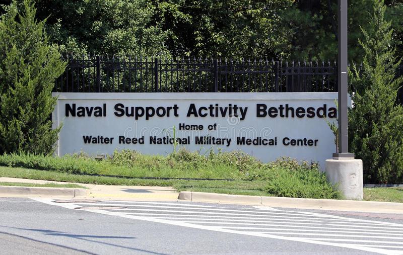 Walter Reed National Military Medical Center. Bethesda, MD, USA - July 19, 2017: An entrance to the Walter Reed National Military Medical Center. The Walter Reed stock photography