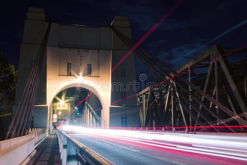 Walter Taylor Bridge. The Walter Taylor Bridge also known as Indooroopilly Bridge in Brisbane, Queensland at night stock photography