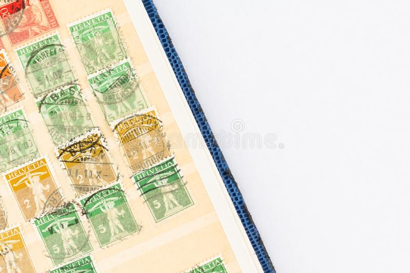 Walter Tell Swiss Stamps 1907 - 1911 stockfotos