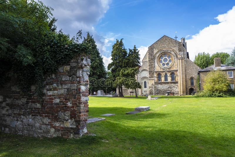 Waltham修道院镇英国地标教会  免版税库存照片
