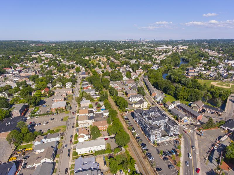 Waltham city center aerial view, Massachusetts, USA. Waltham city center at Main Street near Waltham city hall aerial view in downtown Waltham, Massachusetts, MA royalty free stock photos