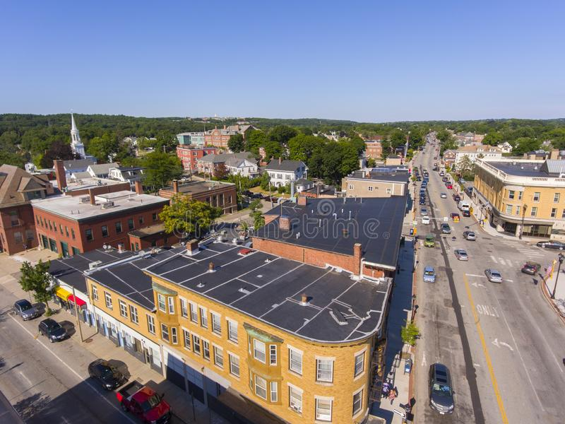 Waltham city center aerial view, Massachusetts, USA. Waltham city center at Main Street near Waltham city hall aerial view in downtown Waltham, Massachusetts, MA royalty free stock photography