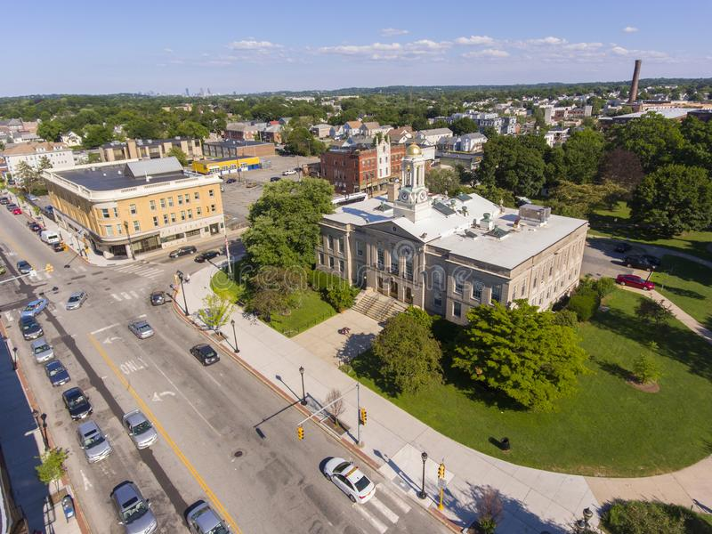 Waltham City Hall aerial view, Massachusetts, USA. Waltham City Hall and downtown aerial view in downtown Waltham, Massachusetts, MA, USA stock images