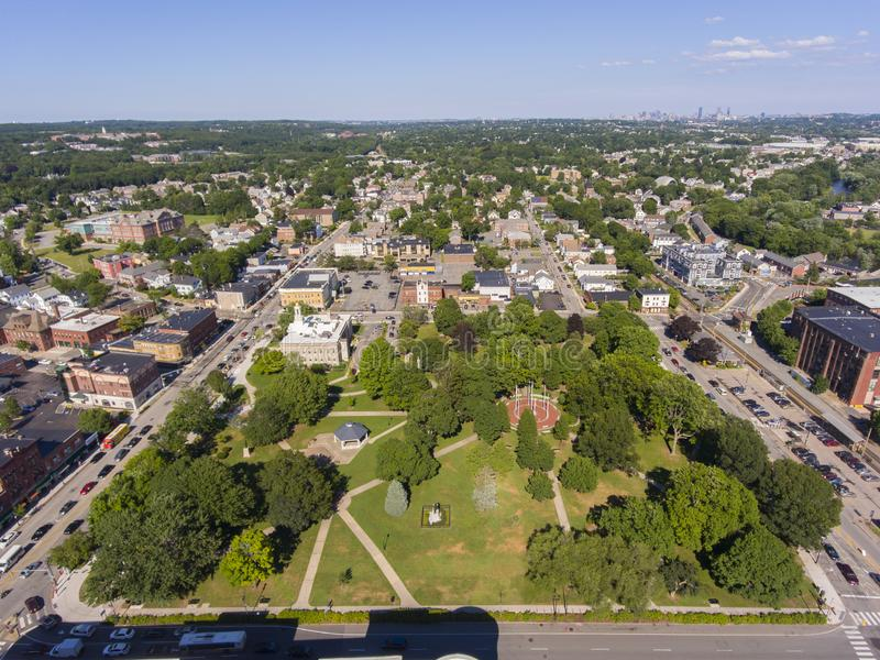 Waltham City Hall aerial view, Massachusetts, USA. Waltham City Hall and Central Square Historic District aerial view in downtown Waltham, Massachusetts, MA, USA stock photos