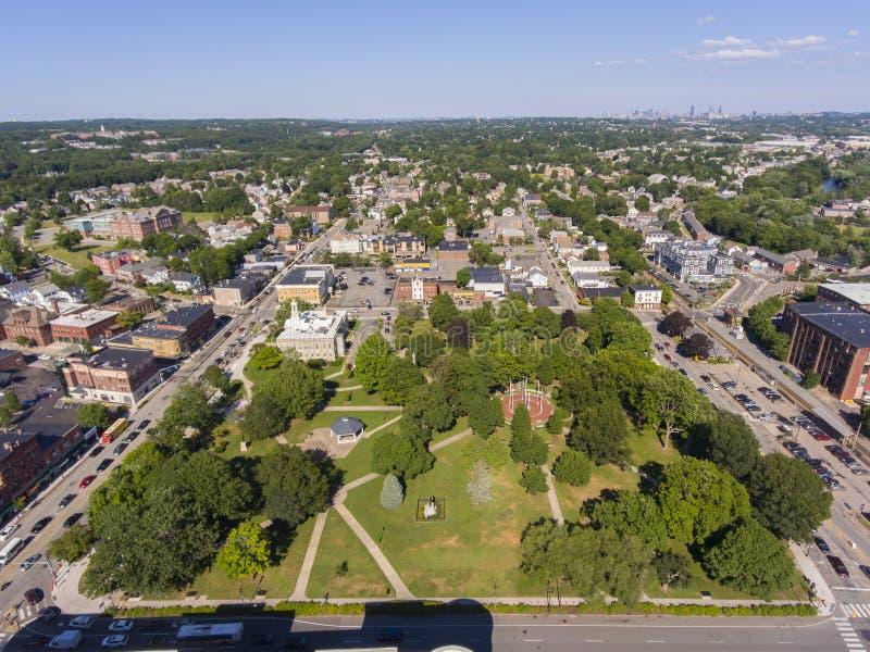 Waltham City Hall aerial view, Massachusetts, VS stock foto's