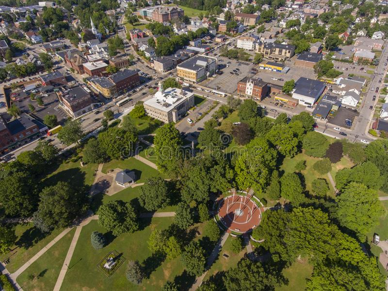 Waltham City Hall aerial view, Massachusetts, USA. Waltham City Hall and Central Square Historic District aerial view in downtown Waltham, Massachusetts, MA, USA royalty free stock photography