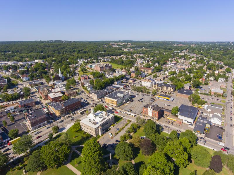 Waltham City Hall aerial view, Massachusetts, USA. Waltham City Hall and Central Square Historic District aerial view in downtown Waltham, Massachusetts, MA, USA stock images