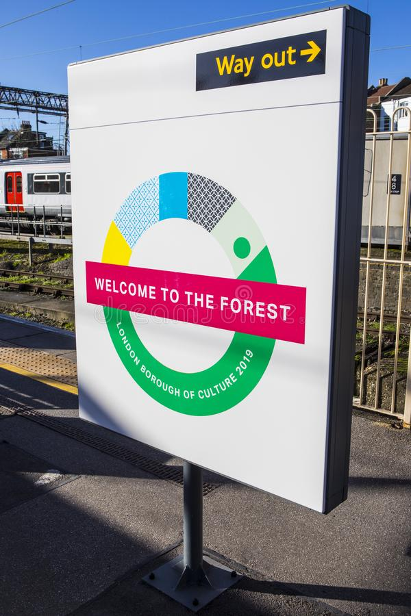 Waltham Forest London Borough of Culture. London, UK - January 28th 2019: A sign at Chingford Station in London, promoting the London Borough of Waltham Forest royalty free stock images