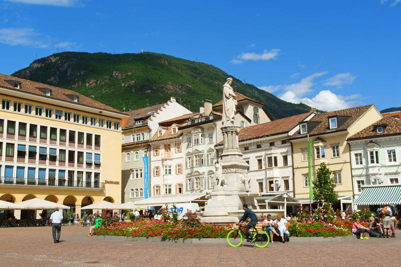 Walther Square in Bolzano (Bozen), Italy. Bolzano, Italy - August 21, 2014: Walther Square (Piazza Walther) built in 1808 by order of King Massimiliano di royalty free stock images