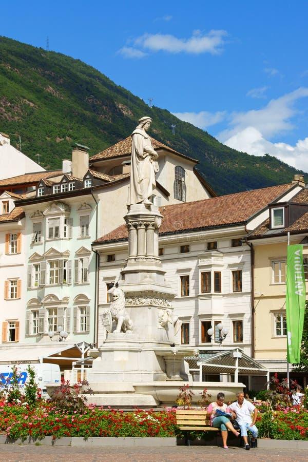 Walther Square in Bolzano (Bozen), Italy. Bolzano, Italy - August 21, 2014: Walther Square (Piazza Walther) built in 1808 by order of King Maximilian of Bavaria royalty free stock photos